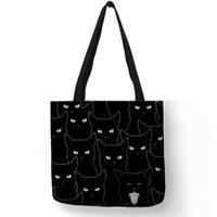 ingrosso tessuti di lino-Borse a tracolla New Lady Borsa a tracolla casual riutilizzabile per ufficio Shopping ecopelle in ecopelle Sumi Black Cat
