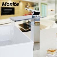 banyo muslukları krom toptan satış-Prinç Tezgah dokunun Şelale Krom Banyo Havzası Mikser Musluklar Lavabo Musluk Sıcak Soğuk Su Mikser dokunun