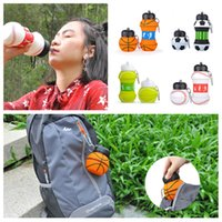 Wholesale soccer bottle resale online - FASHION Kids Sports Water Bottle School Drinking Cup Folding cup Ball Shaped Leak Proof Baseball Tennis Soccer Volleyball KitchenwareT2I5518