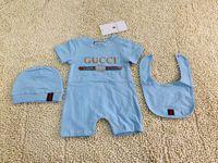 vêtements enfant fille mignonne achat en gros de-3pcs bébé barboteuses + chapeau + bavettes bébé garçon filles vêtements mis mignon combinaison jersey bébé coton manches courtes vêtements pour enfants pour la livraison gratuite