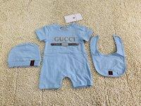 nette säuglingshüte für jungen großhandel-3PCS Baby-Spielanzug + Hut + bibts Baby-Mädchen-Kleidung Set Nettes Jumpsuit Baby Baumwolle Kurzarm-Kind-Kleidung für freies Verschiffen