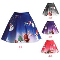 Wholesale vintage woman costume for sale - 2018 Women Pleated Skirt Christmas Tree Printed Vintage Skirt High Waist Retro Cotton Midi A Line Floral Skirts TC1130W