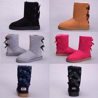 Wholesale purple knee boots online - New WGG Bowtie Women s Fashion Knee Boots Australia Classic Black Grey Chestnut Coffee Navy Blue Red Women Girl Snow Boots EUR36