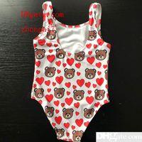 bébé filles nagent achat en gros de-New Hot Summer Kids Bear Full Pattern Maillots de bain bébé filles Bikini maillots de bain une pièce lettre maillot de bain natation porte