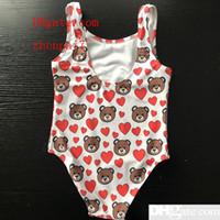 kızlar tek parça mayo giyiyor toptan satış-Yeni Sıcak Yaz Çocuklar Ayı Tam Desen Mayo Bebek Kız Bikini Mayo Tek Parça Mektup Mayo Yüzme Giyer