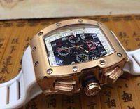 relógio automático mens ouro suíço venda por atacado-Mens automático relógio de pulso mecânico luxo rosa de ouro suíço RM011 Felipe Massa Flyback pulseira de borracha esqueleto relógios para homens