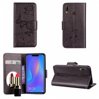Wholesale flower flip leather pu wallet for sale - For Galaxy S10 Plus S10e A7 A750 Sony XZ3 Huawei Mate Lite Nova i Bling Mirror Leather Wallet Case Butterfly Flower PU Flip Covers