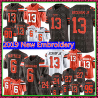 ingrosso marrone xl-Cleveland 13 Browns Odell Beckham Jr 6 Baker Mayfield Jersey 27 Kareem Hunt 80 Jarvis Landry 21 Denzel Ward 95 Garrett Calcio
