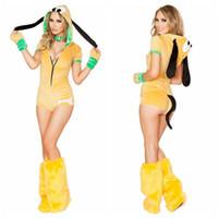 ingrosso guanti gialli-Costumi cosplay per le donne Costumi cosplay di Halloween per le donne Costumi per la tuta gialli I guanti per le tute di piume Set Deguisement per Carnaval