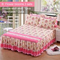 lençóis florais venda por atacado-3 Pçs / set 150x200 cm floral Fitted Folha Cover Espessamento Planta Cashmere Lixar Saia de Cama de Casal e 2 Fronhas