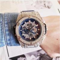 Wholesale large blue clock resale online - Rubber Men s Fashion Large dial Quartz Watches Luxury Men s Fully functional quartz Rhinestone Diamond inlay Clock dial Quartz Watches Gift