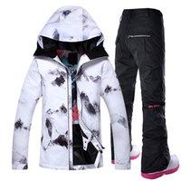 ropa de nieve al por mayor-Gsou snow traje de esquí al aire libre de las mujeres a prueba de viento impermeable snowboard snowboard chaqueta y pantalones conjuntos ropa de esquí ropa de patinaje