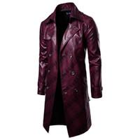 i̇ngiliz giyim eşyası erkekleri toptan satış-Yeni Erkekler Uzun Deri marka Ceket İngiliz Gündelik Iş Erkek Rüzgar Geçirmez Sıcak Deri Dış Giyim çift düğme punk tarzı giysi