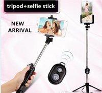 автопортрет selfie handheld stick оптовых-Селфи палка + штативы + Bluetooth таймер селфи моноподы Выдвижной Автопортрет Селфи Ручная палка дистанционный спуск затвора логотип