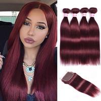 99j düz bakir saç toptan satış-Kapatma Ile Brezilyalı Düz Bakire Saç Paketler İnsan Saç Paketler Kapatma Ile Saf Renk # 1 # 30 # 2 # 4 # 33 # 99J # 27 Saç Uzantıları