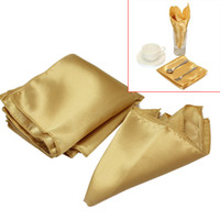 düğün peçetesi toptan satış-10 Adet Polyester Tatil Partisi Ziyafet Düğün için Peçete Altın Kare Bez Peçeteler Mutfak Yemeği Oteller Dekor