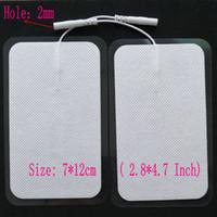 masaj cihazı için elektrot yastıkları toptan satış-7 * 12cm (2.8 * 4.7inch) Kablo ile Tıbbi Masaj Pedler / Tens Makina Yedek Elektrotlar Pedler için Mini Elektrot Kas Stimülasyon