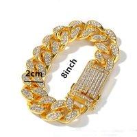 chaîne cubaine jaune blanc achat en gros de-Bracelet Chaîne De Mode Cubain Pour Hommes Jaune Or Blanc Plaqué Rhinstone Ice Out Hip Hop Bracelets Plaqué Or Bracelet Chaîne pour Hommes