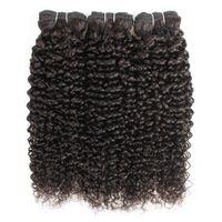 bakire mongol kıvırcık saç toptan satış-Brezilyalı Jerry Kıvırcık Saç Uzantıları 3 Demetleri Afro Stil Doğal Kahverengi Perulu Moğol Ham Hint Bakire Insan Saçı Örgü Demetleri