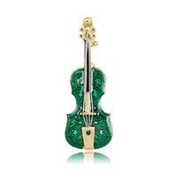 Wholesale violin jewelry for sale - Group buy New Design Enamel Violin Brooch Pins Green Fiddle Brooches Fun Musical Instrument Pins For Men Women Fashion Jewelry Gifts Retail