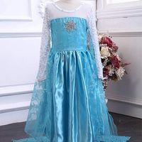 prinzessin kostüm gefrorenes kleid großhandel-2018 neue Stil Exquisite Gefrorene Kleid Mädchen Kostüme für Kinder Schneekönigin Cosplay Prinzessin Party Halloween Langarm Kleider