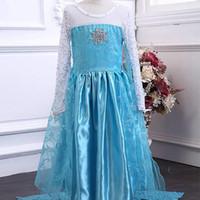disfraz de reina al por mayor-2018 nuevo estilo exquisito vestido congelado disfraces de niñas para niños Snow Queen Cosplay Princess Party Halloween vestidos de manga larga