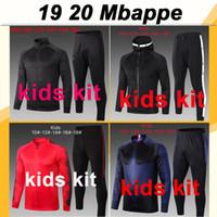 ternos azuis para crianças venda por atacado-19 20 Mbappé ICARDI treinamento caçoa o terno de Futebol CAVANI Draxler DI MARIA Hat Jacket Verratti Matuidi Vermelho Azul Criança camisas de futebol