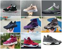 sapatilhas novas legal venda por atacado-2019 Novo 4 FIBA Neon Mens Womens Sapatos de Basquete PMotorsport Fresco Cinza Roxo Camurça Azeitona retro Formadores Tênis Esportivos