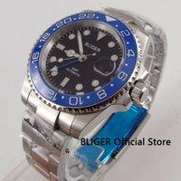 pulseiras de safira azuis venda por atacado-BLIGER 40 MM Black Dial Men Watch Azul Bezel De Cerâmica Pulseira De Aço Luminoso GMT Ponteiro Safira Movimento Automático Relógio De Pulso