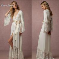 robe wraps frauen großhandel-Langarm Günstige Braut Wraps Jacken Nachtwäsche Chiffon Hood Ponch Bademantel Hochzeit Robe für Frauen