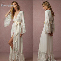 Wholesale robes for wedding for sale - Long Sleeve Cheap Bridal Wraps Jackets Sleepwear Chiffon Hood Ponch Bathrobe Wedding Party Robe for Women