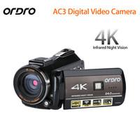 camcorder hdmi großhandel-ORDRO Aktualisiert AC3 4K Blitzschuh WIFI Digitalkamera HDMI 24MP Infrarot Nachtsicht Videoaufzeichnung Camcorder 3