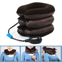 Wholesale car air cushion for sale - Group buy U Shape Massage Pillow Travel Airplane Air Inflatable Neck Pillows Car Head Neck Rest Air Cushion for Sleep Home Textile