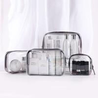 bolsas de maquillaje transparente al por mayor-Bolsa de almacenamiento de cosméticos transparente multifuncional impermeable claro aseo organizador de doble cremallera bolsa de maquillaje