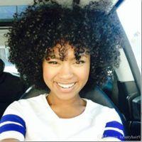 grandes pelucas afro onduladas al por mayor-Pelo brasileño caliente Africano Ameri Afro corto rizado Peluca rizada Simulación Cabello humano pelucas llenas rizadas en gran stock