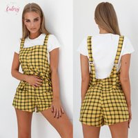 Wholesale pants fasion resale online - Fashion Zipper Fly Fasion Uk Womens Short New Holiday Casual Shaeth Female Pants Plaid Overalls Drop Shipping Good Quality