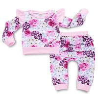 ingrosso ragazze abiti caldi-Coprire i vestiti della neonata Vestiti stile europeo Fiore TShirt Gonne Pantaloni Toddler Girl Designer Clothes Warm 42