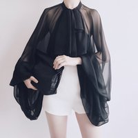большие черные фонари оптовых-2019 черный и белый элегантный Bowknot шифон блузка рубашка женщины фонарь с длинным рукавом тюль прозрачные сексуальные топы большой размер весна лето