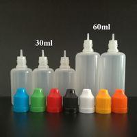 ingrosso ems plastica-Nuovo 30 ml 60 ml di plastica contagocce bottiglie PE bottiglie vuote morbide bottiglia ago con tappo a prova di bambino e punte lunghe e sottili, trasporto libero di SME