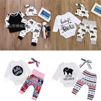 Wholesale clothing bb for sale – custom winter children s clothing elephant letter geometry figure camellia stripe BB bear print romper gray black three piece baby onesies M037
