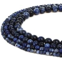 naturstein perlen blau großhandel-Naturstein Dunkelblau Sodalith Perlen Runde Edelstein Lose Perlen für DIY Armband Schmuck Machen 1 Strang 15 Zoll 4-10 MM