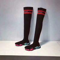 estilo de moda botas longas venda por atacado-Inverno Novo Estilo Popular Oreo 6 Cores Longa Trecho Sneaker Moda Das Mulheres Dos Homens Outsoor Sapatos Casuais Quentes Meias Sapatos Botas 35 ~ 45
