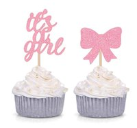 Wholesale cupcake toppers girl for sale - Group buy 50pcs Counts It s A Girl Cupcake Toppers Baby Girl Shower Party Decorations