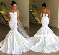 Wholesale satin corset mermaid wedding gowns resale online - White Elegant Lace Mermaid Wedding Dresses Sexy Straps Sweetheart Lace Appliqued Satin Long Bridal Gowns with Corset BackBC1956