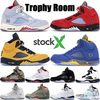 Wholesale ice cycling resale online - Mens Jumpman s Basketball shoes Trophy Room University Red Ice Blue PSG Black White MICHIGAN International Flight men trainers BOOTS