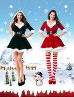 vestido blanco con capucha al por mayor-Sra. De Santa edad Mujeres traje de la Navidad medias mangas con capucha con cuello en V balón vestido de una línea de mini vestido con White Fuzzy Recorte Juego de correas Cosplay