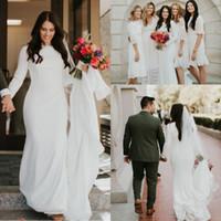 krepp langes hülsenhochzeitskleid großhandel-2019 Boho Country Style Crepe Meerjungfrau Brautkleider mit langen Ärmeln Elegante Country Western Günstige Modest Brautkleider nach Maß