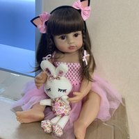 Wholesale dolls silicone resale online - 55CM real size Original NPK bebe doll reborn toddler girl pink princess bath toy very soft full body silicone girl doll surprice