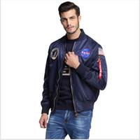 ingrosso giacche per-All'aperto nuovi uomini abbigliamento primavera Autunno sottile NASA Navy giacca da uomo varsity college americano giacca da volo bomber per gli uomini