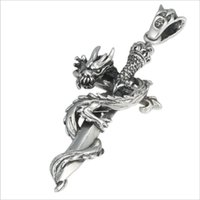 Wholesale car opening lights for sale - Group buy 2019 New Pendant Sterling Silver Jewelry Men Women Cross pattern Holy sword Dragon Necklace Pendant